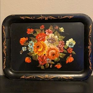 Tole painted tray black metal